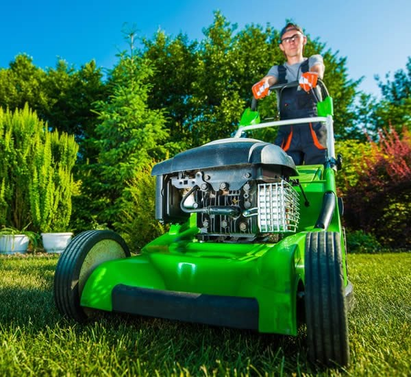 Mowing the lawn for the first time in the spring