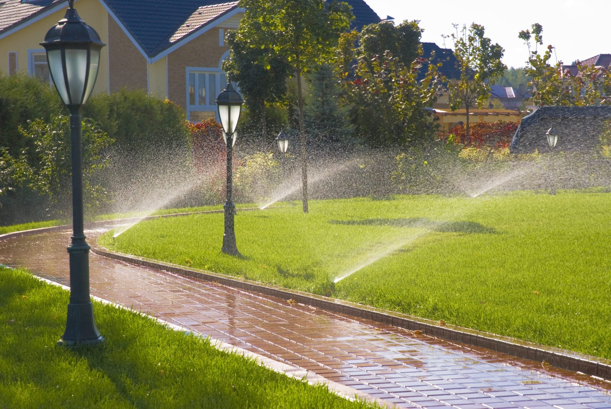 sprinkler system watering in garden